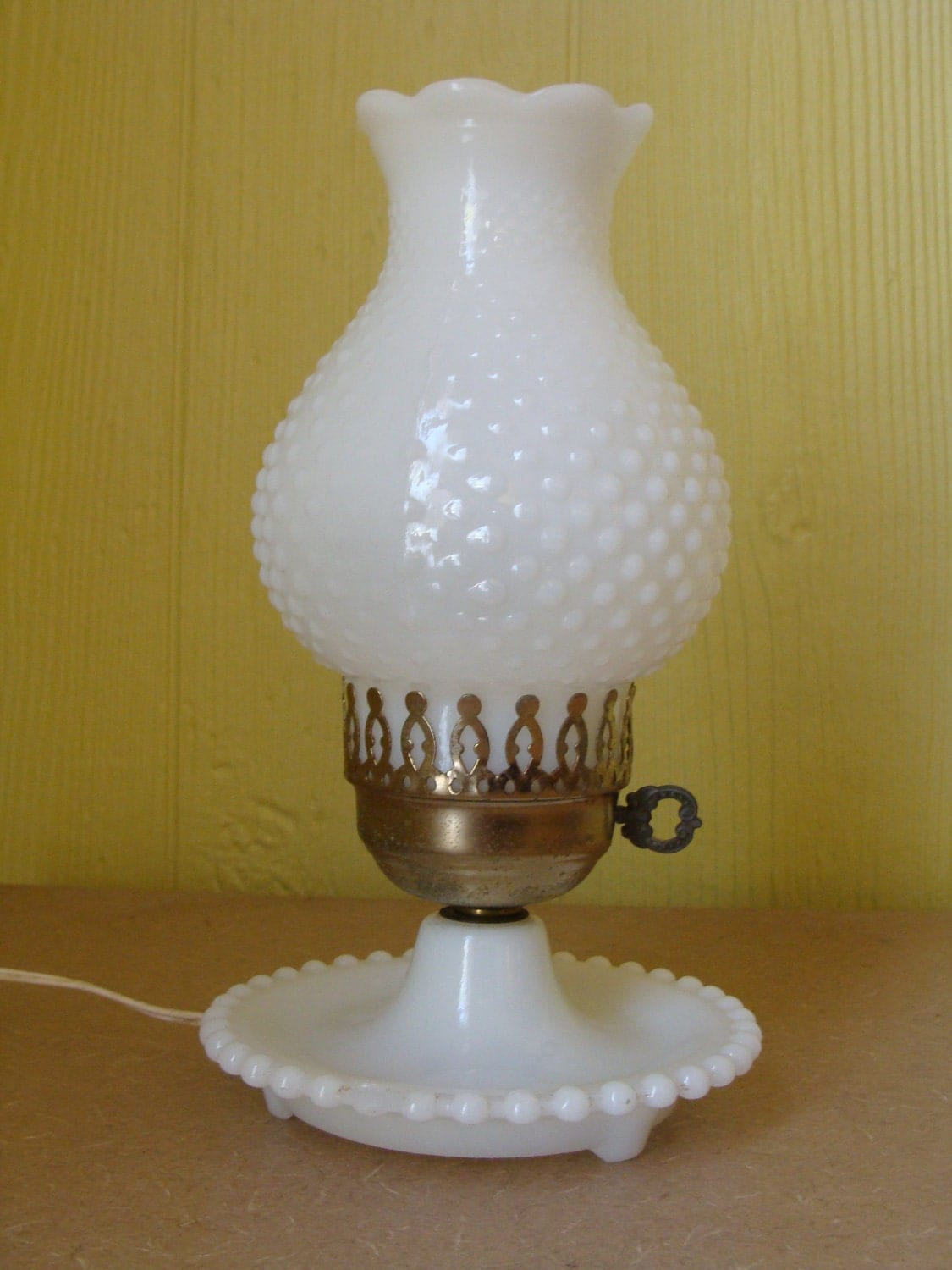 Milk Glass Wall Lamps : Vintage Hobnail Milk Glass Lamp by JanetandJaneVintage on Etsy