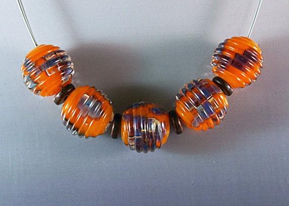 Creamsicle 2  - 5 Handmade Glass Lampwork Beads Ribbed - AGLF