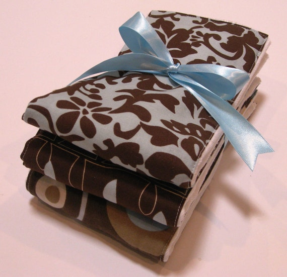 Premium 6 Ply Burp Cloth Set of 3 - Baby Boy Browns and Blues
