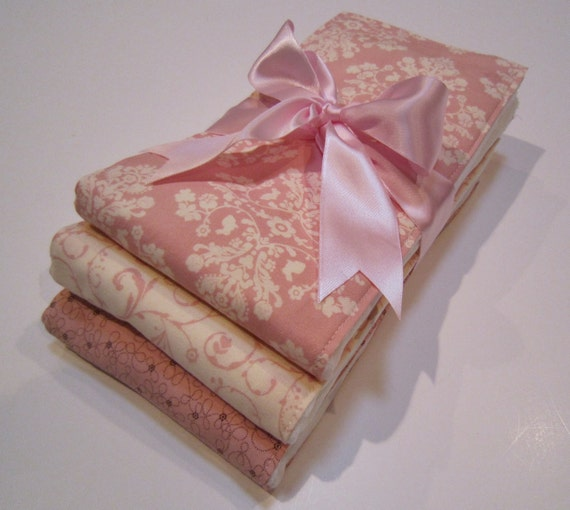 Premium 6 Ply Burp Cloth Set of 3 Baby Girl - Lily and Will Pretty Pinks