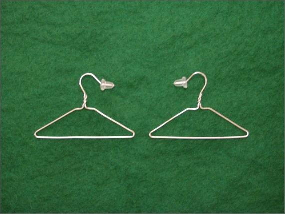 Coat Hanger Pendant Earrings 925 sterling silver miniature punk 80's