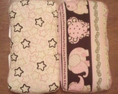 Baby Girl Elephants and Stars Diaper Wipe Case