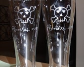 Skull and Crossbone Custom Glass Beer Pilsners Engraved