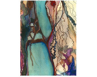 Abstract art print, small watercolor print, turquoise brown art, Sybaris