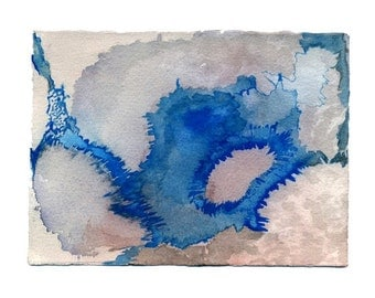 Blue wall art print, small modern abstract watercolor, map inspired, Hyperborea 1
