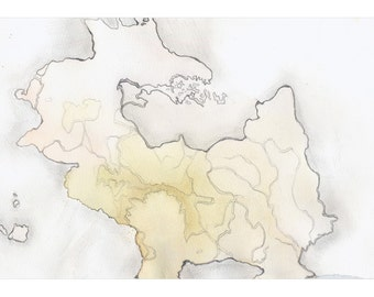 Pale yellow watercolor art print, fantasy map art, topography, Dragon Island