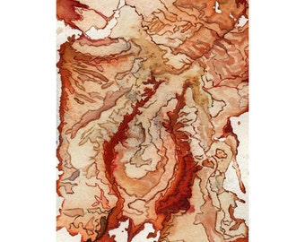 Orange abstract art print, small modern watercolor wall art, topography inspired, Ubar
