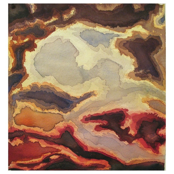 Original watercolor painting, red gold abstract, matted to 12 x 18, Elysium