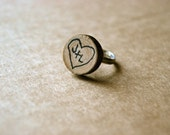 personalized wood tree trunk heart ring