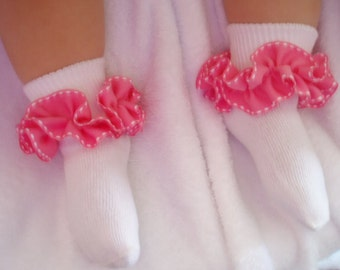Bubble Gum Pink with White Stitching Ruffled Ribbon Socks