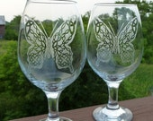 Etched Crystal Wine Goblet -  Butterfly with Celtic Knots Meaning Eternity, Mind, Body and Spirit
