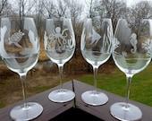 Etched Wine Glasses -  Ocean Animals, Turtle, Angelfish, Octopus, Sea Horse, Deep Sea Scenes Plus Heron- Set of 20 - RESERVED FOR DANA