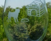 Wine Glasses - Etched Pug Dog and a House