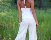 Low Rise White Linen Extra Wide Leg Pants