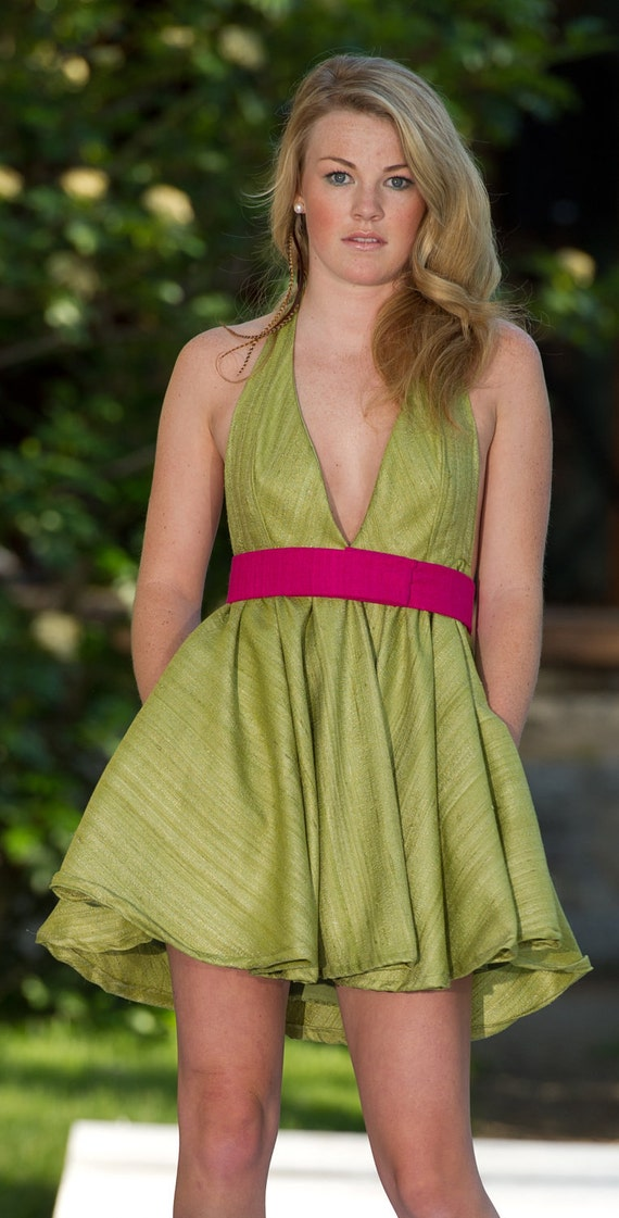 SALE - Short Green 100% Raw Silk Halter Dress with Pockets and Pink Belt