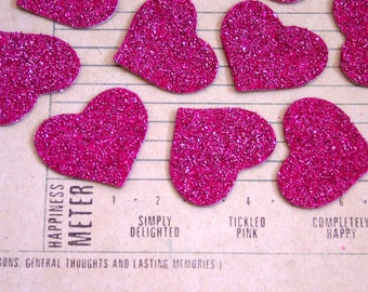 PINK Heart Glass Glitter Chips Set of 6