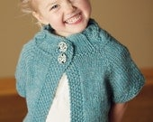 SALE-Girls hand knit cabled cardigan in aqua wool-size 4-6 years