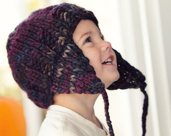 KNITTING PATTERN PDF file for Earflap Hat sizes child/toddler through adult