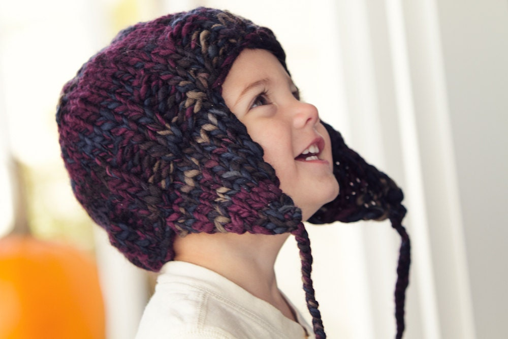 Earflap Hat Knitting Pattern Bulky Yarn : KNITTING PATTERN PDF file for Earflap Hat sizes by ...