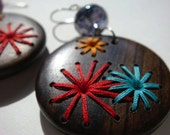 Retro Style Hand Embroidered Wood Earrings 70s Fireworks Flowers