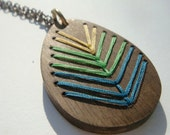 LAKE Necklace---Embroidered Wood Chevron Necklace Green and Yellow