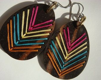Embroidered Wood Chevron Earrings Ebony---HOT colors