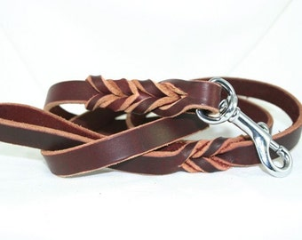 6 foot Latigo Leather Leash with Woven Braided Ends