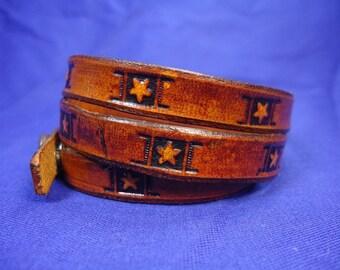 Leather Wrap Around Bracelet with Stars