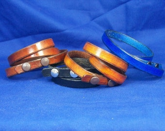 Leather Wrap Around Bracelet In Your Choice Of Color - Wrist Wrap