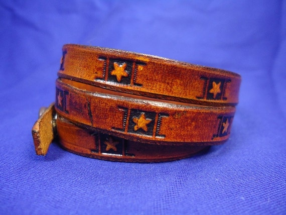 Leather Wrap Around Bracelet with Stars