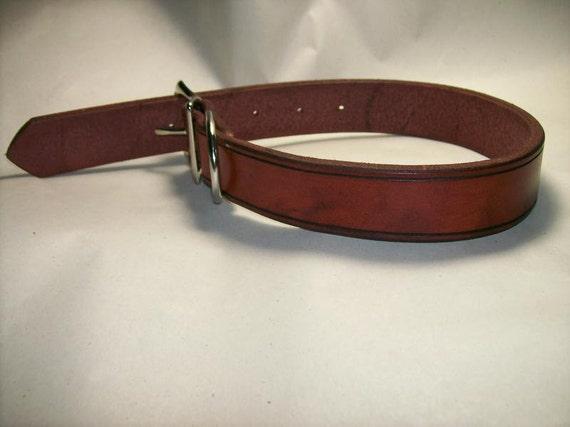 Heavy Duty Leather Dog Collar - Medium Lengths