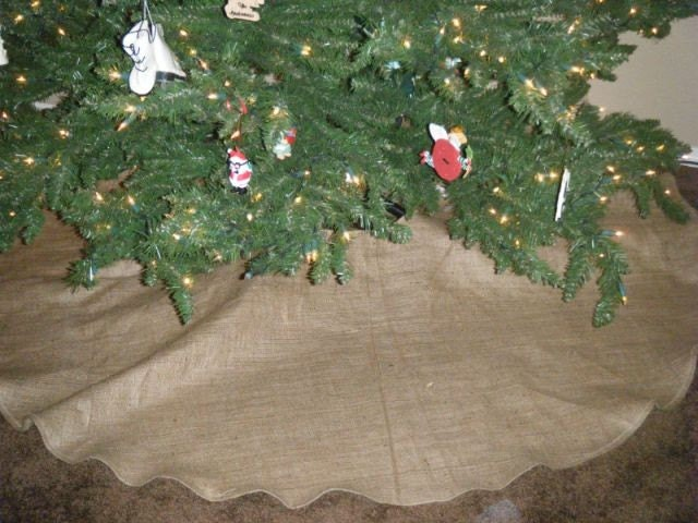 Rustic burlap christmas tree skirt free shipping