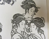 3 prints of Geisha's  3 stamped  Dragons and one stamped crane