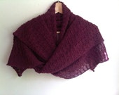 Knitted lace shawl / wrap / scarf, mulberry purple red, alpaca / silk blend