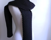 Black wool scarf, knitted chunky textured lace, 100 percent wool