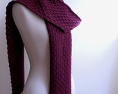 Purple wool scarf, knitted chunky textured lace, 100 percent wool