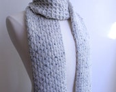 Knit scarf aran tweed, cream colored wool, chunky textured lace