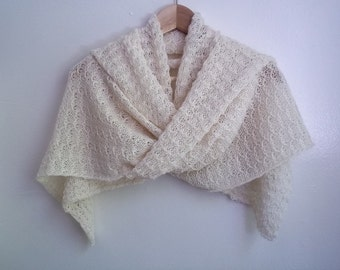 Knitted lace shawl / wrap / scarf, alpaca silk blend, natural white, wedding