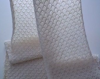Hand knitted lace scarf in natural white, alpaca / silk blend
