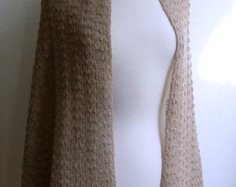 Knitted fawn brown lace shawl / wrap / scarf, alpaca silk blend