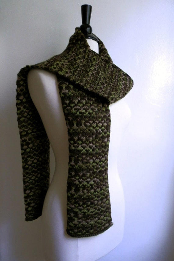 ON SALE - Wool scarf, knitted, multicolor, shades of green and brown