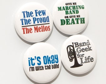 Mellophone and Marching Band One Inch Sized Buttons or Magnets - set of four - MEL 1