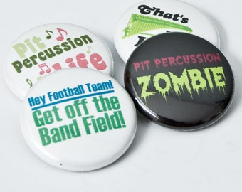 Pit Percussion Zombie plus three one inch Marching Band Buttons or Magnets - PIT 1