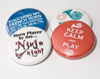 French Horn Ninja plus three other music and band one inch magnets or pinback buttons - HRN 2