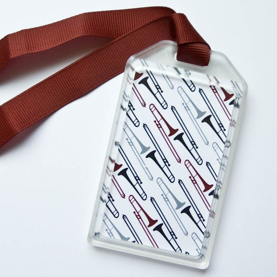 Trombone Luggage Tag or Instrument Case ID for Musicians - Maroon and Grey