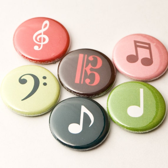 Six Music Note and Clef Buttons or Magnets - size one inch - MUS 2