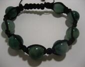 Shambala-Style Jade Green Bracelet with Black Cord