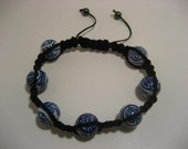 Shambala-Style Blue & White Porcelain Bracelet with Black Chinese Knotting Beading Cord