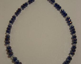 Blue and Clear Swarovski Crystal Ankle Bracelet - Anklet, leg jewelry, ankle jewelry