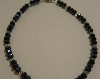 Black and Clear Swarovski Crystal Ankle Bracelet - Anklet, ankle bracelet, leg jewelry, ankle jewelry